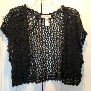 Black crochet crop cardigan